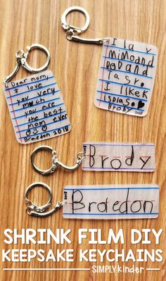 Make these shrink film keepsake keychains with your students using Shrinky-Dink paper! We share how on Simply Kinder. day crafts for kids Shrink Film Keepsake Keychains - Simply Kinder Crafts To Do, Arts And Crafts, Diy Kids Crafts, Creative Crafts, Family Crafts, Baby Crafts, Family Gift Ideas, Creative Mother's Day Gifts, Quick Crafts