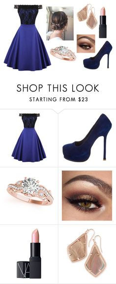 """Another engagement"" by designerdream49 ❤ liked on Polyvore featuring WithChic, Yves Saint Laurent, Allurez, NARS Cosmetics and Kendra Scott"