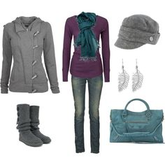 Love this look. Purple and teal with grey!