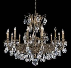 Schonbek Sophia 14 Light Single Tier Chandelier In Floretine Bronze With Swarovski Strass Clear Crystal Chandelier, Crystal Chandelier, Candle Style Chandelier, Candle Styling, Traditional Chandelier, Chandelier Lighting, Candlelight, Lantern Pendant, Chandelier Shades