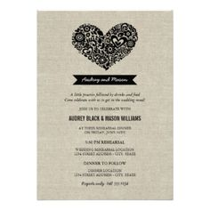 Simple and cute wedding rehearsal and dinner invites feature a floral heart, monogram banner, a unique creative wording intro, modern type, and a pattern of flowers on the back. Black design and text on rustic linen / burlap textured look background. CLICK HERE to view other rehearsal dinner invitation designs by Plush_Paper. #wedding #rehearsal #dinner #modern #poem #verse #heart #love #monogram #whimsical #chic #banner #cute