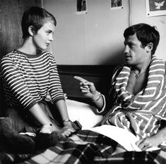 "Jean-Paul Belmondo, Jean Seberg in ""Breathless"" / ""À bout de souffle"" (1960) directed by Jean-Luc Godard."