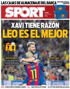"""Jornal catalão provoca CR7 após show de Messi em goleada: """"Xavi tem razão"""" #globoesporte"""