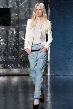 teenvogue:    Try three trends at once with this season's dressed-up baggy denim. Check out more top runway looks here»