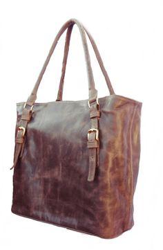 Tote Shoulder Leather Bag   Handmade  Gold Plated by MiloBorja