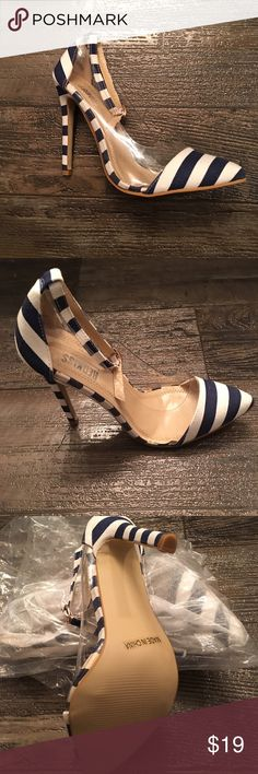 Strip Pump by RedKiss Navy Blue and Tan. Clear sides. In original dust bags. BRAND NEW WITHOUT BOX. RedKiss Shoes Heels