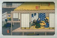 Shimosuwa, Da série 69 estações da estrada Kisokaido. Xilogravura japonesa colorida. Utagawa Hiroshige (Edo, Japão, 1797 - 12/10/1858, Edo, Japão). Publicada entre 1834 e 1842 por Takenouchi-Hoeido (1ª parte) e Kinjudo (2ª parte). Edições posteriores, publicados pela Kinjudo. Formato da edição Oban yokoye. A série de impressões de Kisokaido foi uma colaboração entre Utagawa Hiroshige e Keisei Eisen que produziu 23 das 70 impressões.