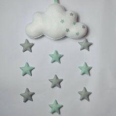 7105a9bb021ba1 Kindergarten-grau und Mint grün Stern mit Wolke mobile. Kinderzimmer Deko