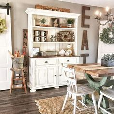 42 Rustic Farmhouse Style That Make Your Flat Look Great - Style Stylish Rustic Farmhouse Style - farmhouse remodel, Farmhouse Dining Room Table, Dining Room Table Decor, Country Farmhouse Decor, Modern Farmhouse Kitchens, Farmhouse Style Kitchen, Room Decor, Kitchen Hutch, Dining Hutch, Kitchen Rustic