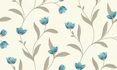 Othello Teal (882003) - Arthouse Wallpapers - A simple tulip floral trail with decorative detail – shown in the Teal green colourway. Co-ordinating stripe available. Please request sample for true colour match.