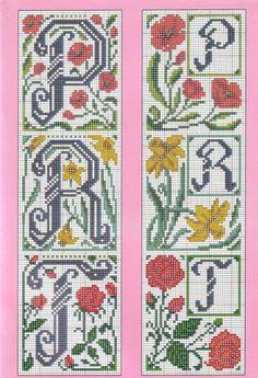 Alphabet cross stitch flowers large and small 5  of