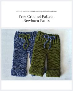 """Free Crochet Newborn Pants Pattern With a seamless design, these pair of pants will look flawlessly at every  photography angle. I fell in love with the color """"Navy"""" as it reminded me  of a starry night. Though I used boyish color schemes, this simple pattern  would easily combine with"""