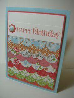Pretty B-day card using Scaollps on Tasteful trims die!
