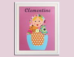Nursery art print Matryoshka Dolls Print girls 8x10 by Wallfry, $18.00