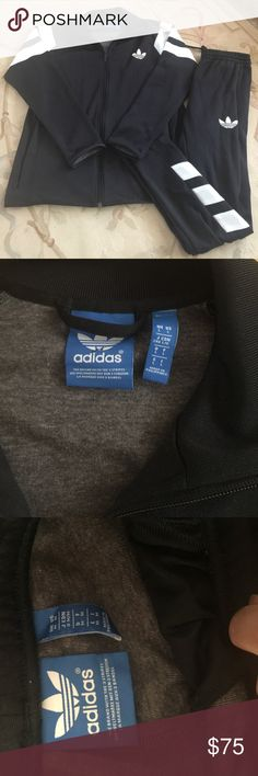 Men's pre owned adidas jogging suit size Medium Signature black and white Adidas jogging suit size medium in great condition Adidas Other