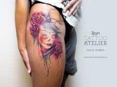 Watercolor & Aquarelltattoos von Julia Dumps - Linzer Tattooatelier