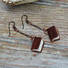 distressed leather book earrings - upcycle an old belt