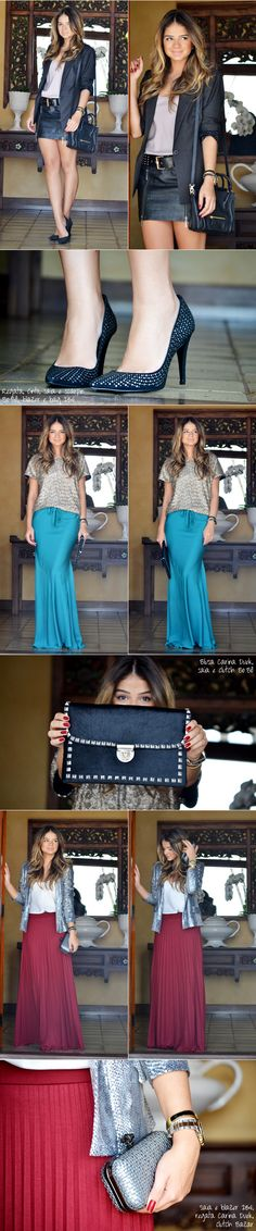 Long skirts...love it!And a modern jacket rocks any outfit!!