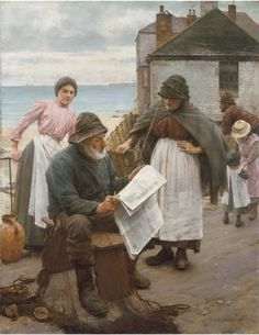 Walter Langley, When the Boats are Away (Newlyn and Staithes School of Painters)