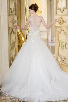 atelier aimee wedding dresses 2014 bridal vittoria sleeveless illusion gown back train #WeddingInspirasi #AtelierAimee