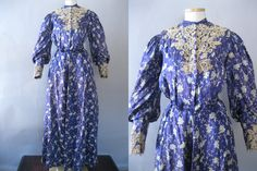 Two Piece Edwardian Dress, circa 1900-1905 | Measurements: 32-24-48 Color and Material: White and Blue Silk Details: Printed, floral or grapevine print, lace applique, lace cuffs, long sleeves, bishop sleeves, pouter pigeon, s bend, pleated