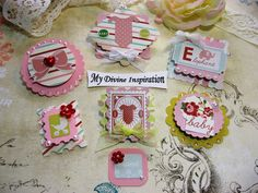 These cute little 3D paper embellishments are ideal for your baby girl or baby shower scrapbook pages, card making, mini albums, book and box