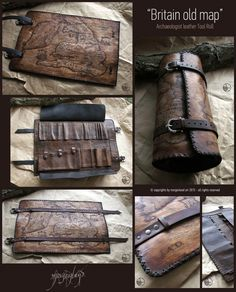 """Britain old Map"" at the times of Vikings invasions.  Archaeologist leather tools roll Dimensions: 55 cm x 35 cm (opened) ***SOLD*** For custom orders please contact me at morgenland@gmail.com"