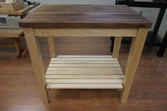 Maple Butcher Block Kitchen Cart with Walnut Top by McClure Tables.
