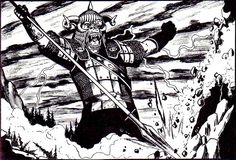 """Gruumsh One-Eye struck the world with his spear at the time of creation to mark the blighted lands where orcs will dwell and multiply and make ceaseless war until the day they cover the world and rule alone. (Looks like Jim Holloway's style, from """"The Gods of the Orcs"""" by Roger Moore, Dragon magazine #62, TSR, June 1982.)"""