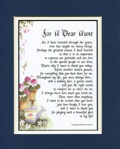 Amazon.com - Gifts For Aunts, #68, Touching 8x10 Poem, Double-matted Aunt Poem in Dark Blue Over White and Enhanced with Watercolor Graphics. A Gift for an Aunt. - Home Decor Gift Packages
