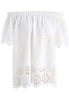 Floret of Love Embroidered Off-shoulder Top in White- New Arrivals - Retro, Indie and Unique Fashion