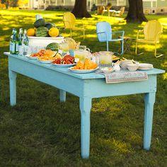 Outdoor buffet tips - Utilize Open Space buffet tables, outdoor buffet, open spaces, painted tables, outdoor parties, party buffet, parti idea, garden, outdoor settings