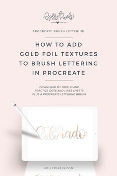 Ever wonder how to add gold foil textures to your brush lettering in Procreate? Who doesn't love gorgeous gold foil art prints? They are all the rage on Etsy. Check out my video tutorial and download a free Procreate brush at hollypixels.com.