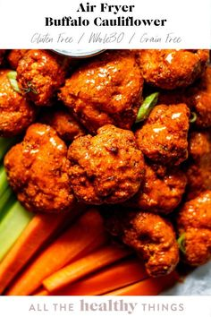 Crispy air fryer buffalo cauliflower is the perfect appetizer or snack! These gluten free bites are easy to make, packed with flavor,  and perfect for dipping. Don't have an air fryer? Don't worry. You can also whip these up in the oven! Easy Whole 30 Recipes, Healthy Gluten Free Recipes, Whole30 Recipes, Healthy Options, Healthy Cook Books, Healthy Grains, Healthy Eating, Lunch Recipes, Appetizer Recipes