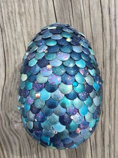 This handmade blue dragon egg consists of 500 beautifully hand-painted . Dragon Egg, Blue Dragon, Egg Crafts, Easter Crafts, Fun Crafts For Kids, Arts And Crafts, Dragon Party, Dragon Crafts, Blue Nails