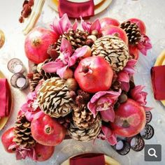 Pomegranate Wedding Ideas : featured in Bridal Guide Magazine Unique Centerpieces, Centerpiece Decorations, Wedding Centerpieces, Winter Decorations, Pomegranate Wedding, Rustic Wedding Inspiration, Wedding Ideas, Wedding Blog, Red Wedding