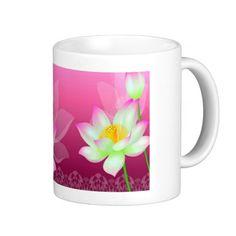 pretty white flowers pink mug basic white mug