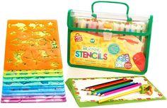 Drawing Stencil Art Set  Large Craft Kit Draw Activity Educational Kid Gift Case #CreativCraft