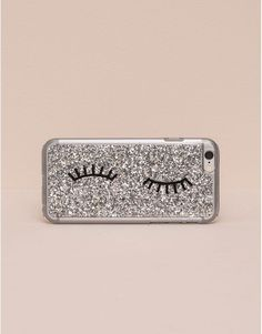 Pull&Bear - woman - mobile phone cover - silver glitter smartphone case - silver - 05997326-V2016