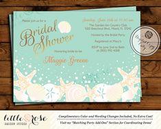 Beach Bridal Shower Invitation - Wedding Shower Invite - Seashells - Starfish - Under the Sea - Baby Shower - Birthday - Printable File