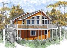 Wide-Open Lakefront Home Plan - 14001DT | 1st Floor Master Suite, Beach, CAD Available, Contemporary, Mountain, Narrow Lot, PDF, Sloping Lot, Vacation, Wrap Around Porch | Architectural Designs