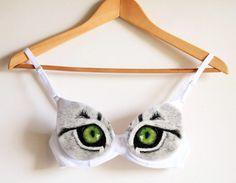 Cat eyes handpainted bra unique sexy bra cosplay by Dariacreative