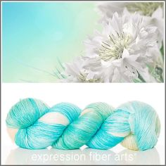 Expression Fiber Arts, Inc. - WHITE CORNFLOWERS - amazing aquas, creamy whites and a hint of the palest butter yellow and a whisper of green