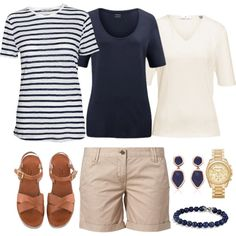 Beige shorts with Navy/White T-shirts from Capsule Wardrobe by linnshem on Polyvore featuring Mode, FWSS, TWINTIP, Michael Kors, Monica Vinader, David Yurman and Hahn