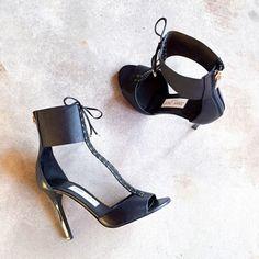 Jimmy Choo Black Mahine 100 Leather Tie Stilettos