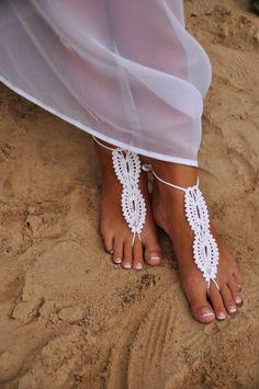 Bridal wedding shoes White crochet barefoot sandals, sandal wedding foot jewelry, Sexy, Lolit