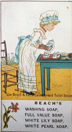 """Vintage Beach's soap ad drawn by Kate Greenaway"" ~ by English artist and illustrator - Kate Greenaway (1846-1901)."