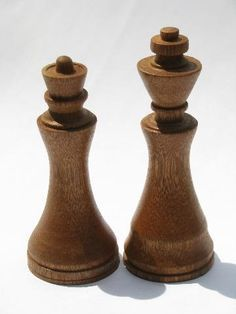 old hand-crafted turned wood chess set game pieces, carved hardwoods