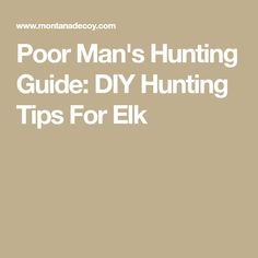 Poor Man's Hunting Guide: DIY Hunting Tips For Elk