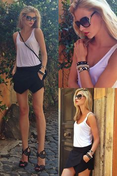 Zara Skort Outfit 2: white. just a simple plain white tank top and black sandals. lovely.
